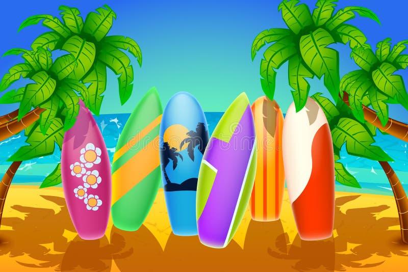 Planches de surf sur la plage illustration stock