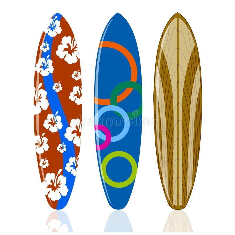 Planches de surf sur un fond blanc illustration libre de droits