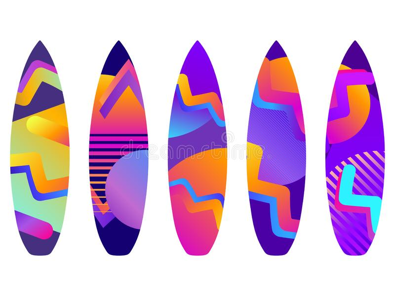 Planches de surf sur un fond blanc Types de planches de surf avec un mod?le Vecteur illustration stock