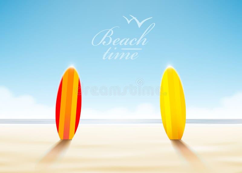 Planches de surf sur une plage illustration stock