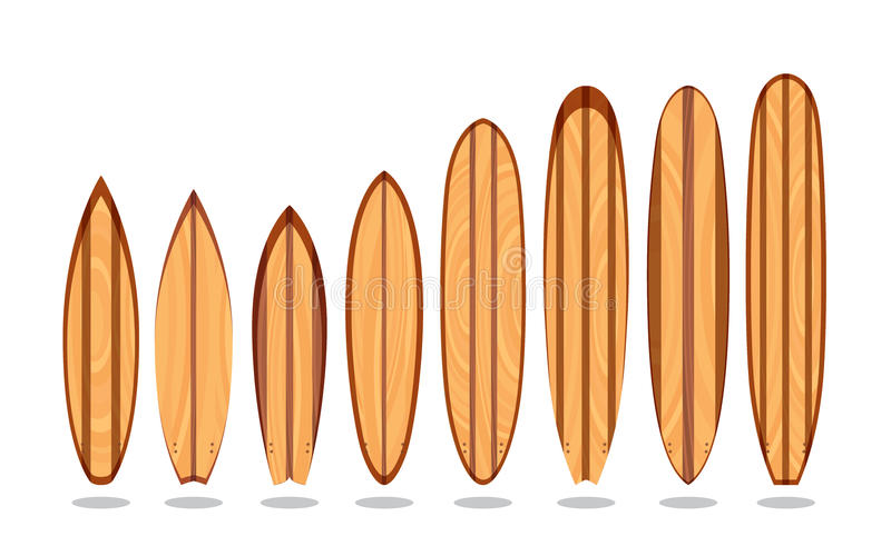 Planches de surfing en bois illustration de vecteur