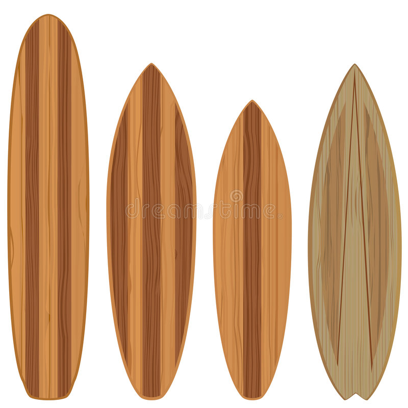 planches de surfing en bois illustration stock
