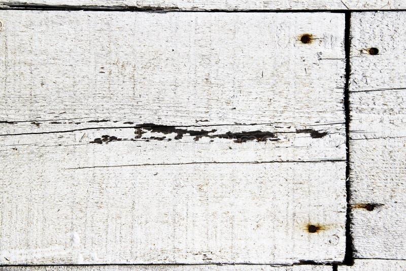 Planches en bois blanches clouées avec des clous image stock