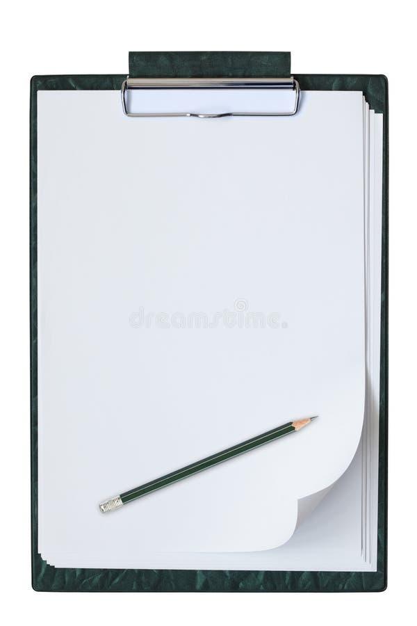 Planchette avec une feuille de papier. photos stock