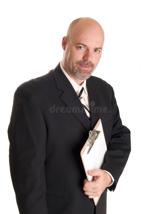 Planchette de fixation d'homme d'affaires images stock
