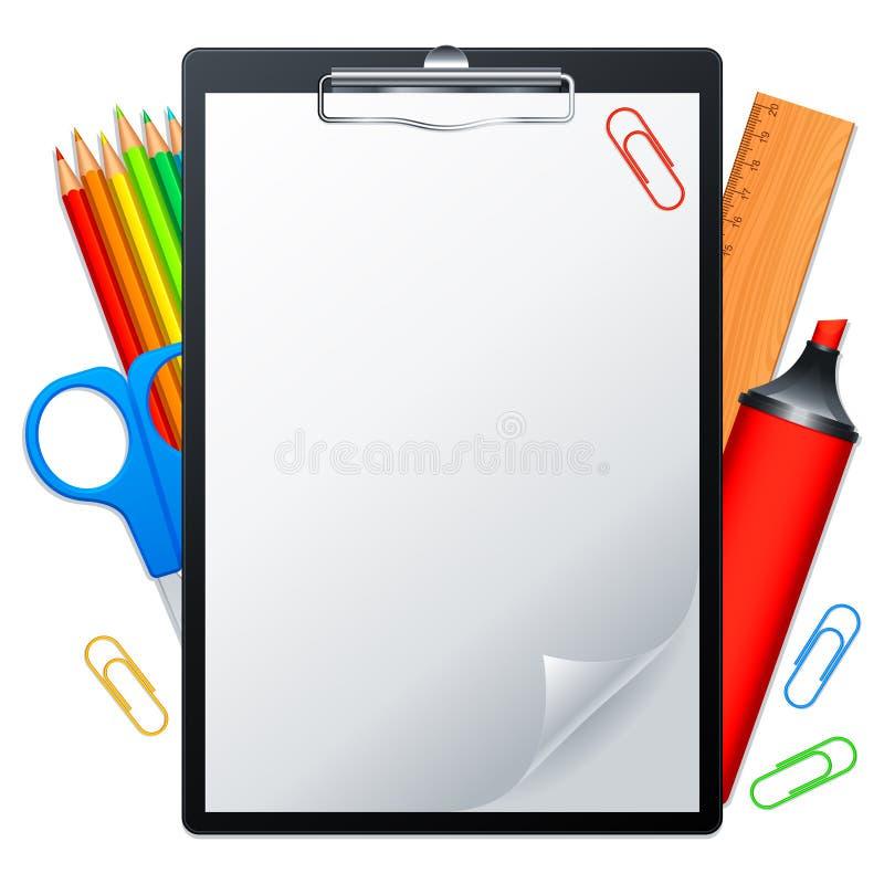 Planchette et outils. illustration stock