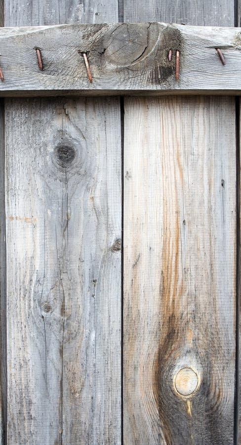 Plancia di legno con il chiodo della ruggine immagini stock libere da diritti