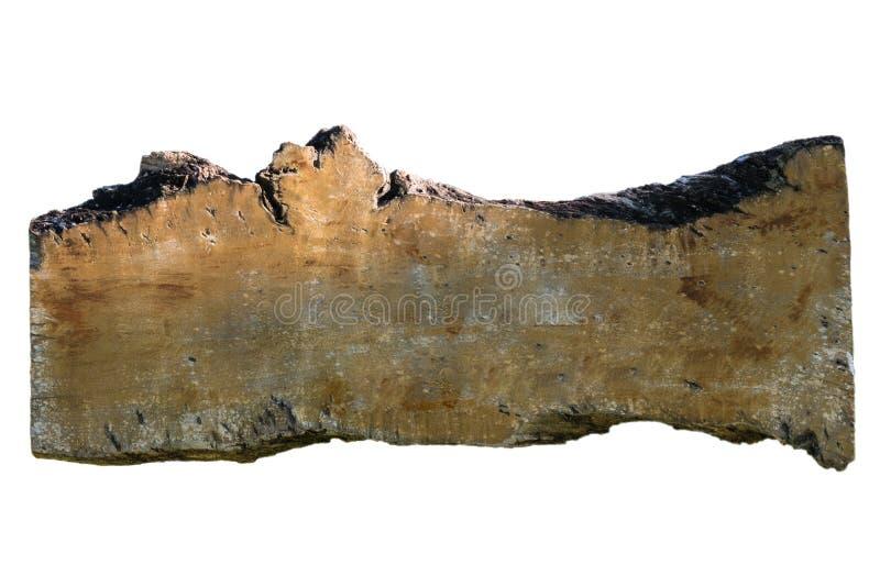 Plancia di legno del segno di vecchio lerciume in bianco isolata su fondo bianco immagini stock libere da diritti