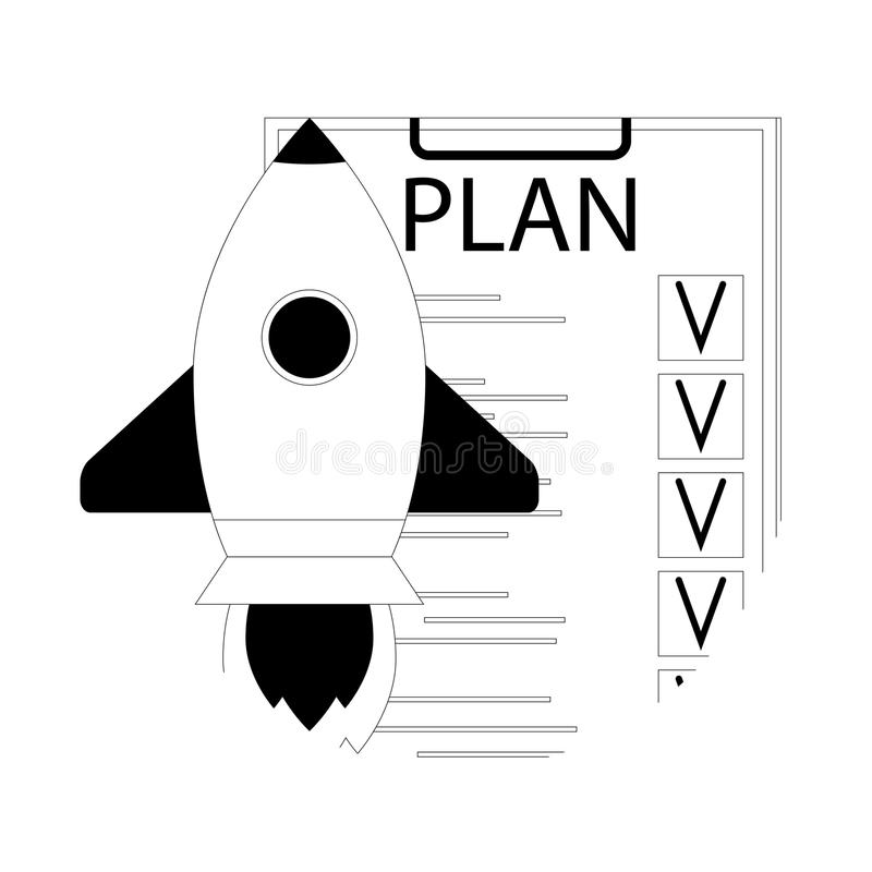 Plancontrolelijst voor lanceringsopstarten vector illustratie