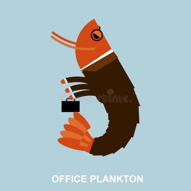 Plancton de la oficina Camarón en traje de negocios y cartera Infante de marina a ilustración del vector