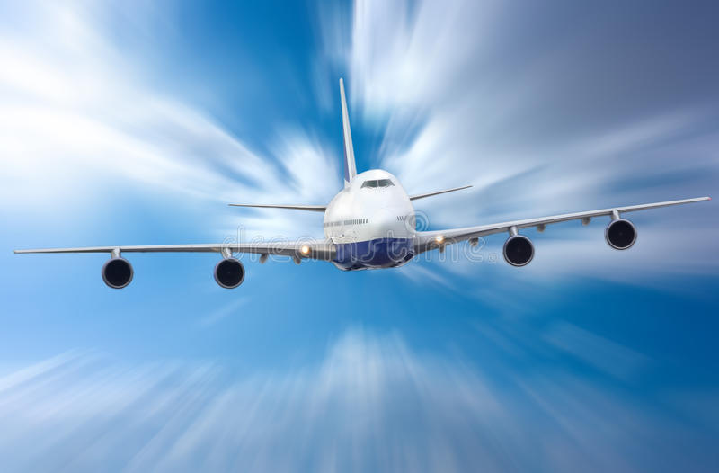 Plane. The white plane flying on sky stock images