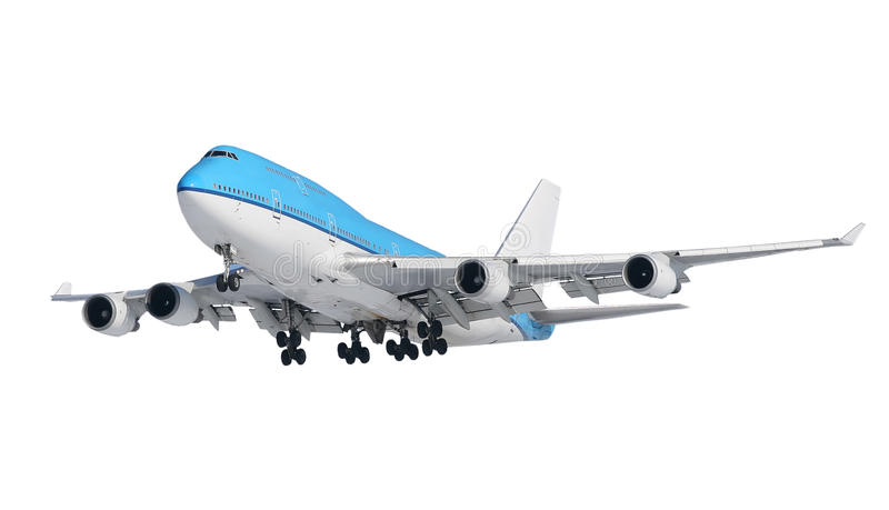 Plane. The white plane flying on white stock photography