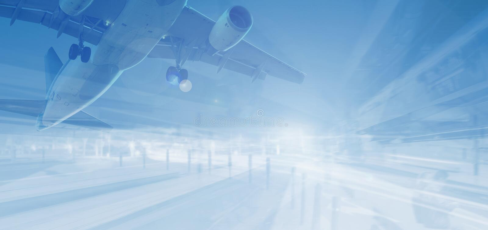 Plane on abstract background. Plane flying high on abstract background with great speed vector illustration