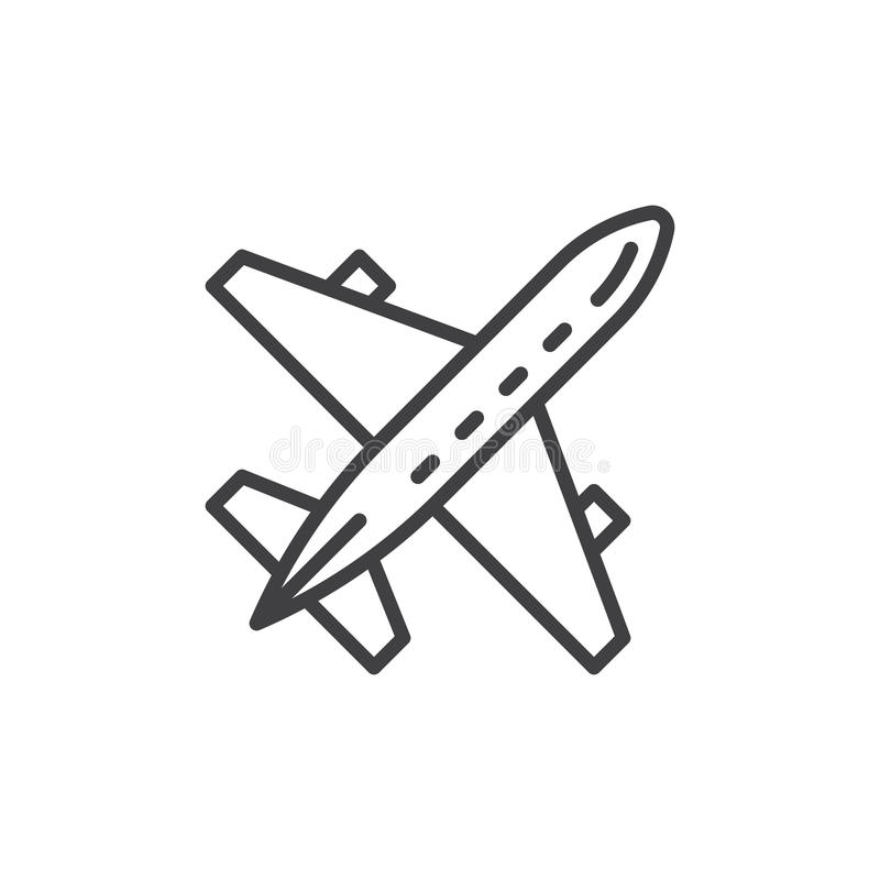 Plane, aircraft line icon, outline vector sign, linear style pictogram isolated on white. Airport symbol, logo illustration. Editable stroke. Pixel perfect royalty free illustration