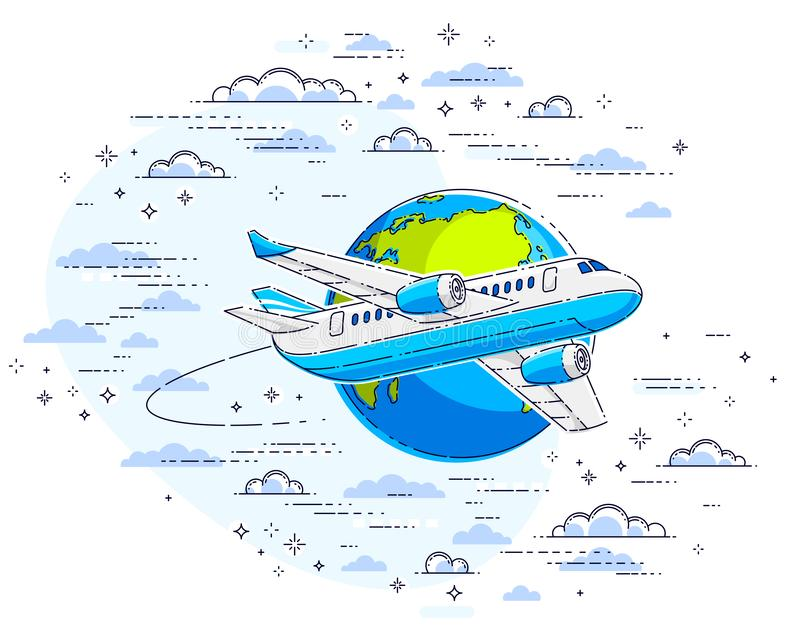 Plane airliner with earth planet in the sky surrounded by clouds vector illustration