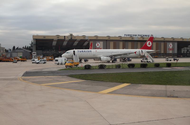 Istanbul, Turkey - Jan 02, 2015: Plane at airport. Plane at airport. Istanbul, Turkey - Jan 02, 2015 royalty free stock photo