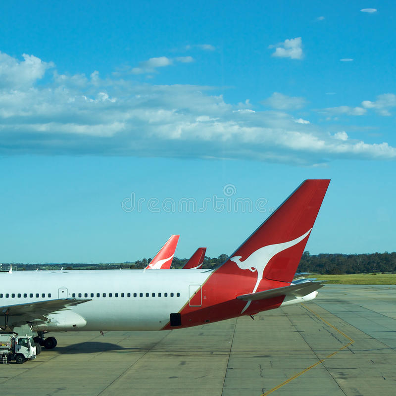 Plane, Airport transport flying with Qantas, 767 stock photo