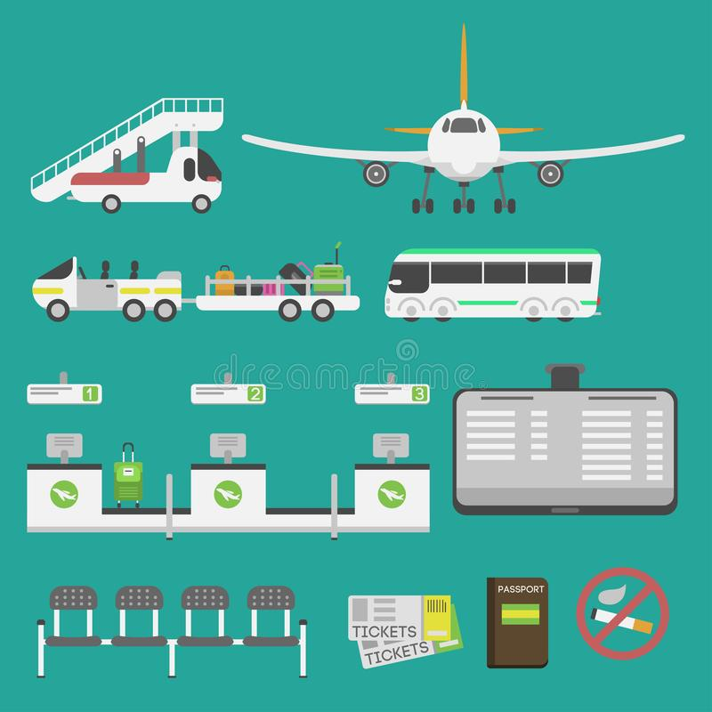 Plane airport transport symbols flat design illustration station concept air port symbols departure luggage plane. Lounge boarding flight tourism vector stock illustration