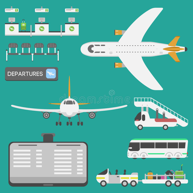 Plane airport transport symbols flat design illustration station concept air port symbols departure luggage plane. Lounge boarding flight tourism vector royalty free illustration