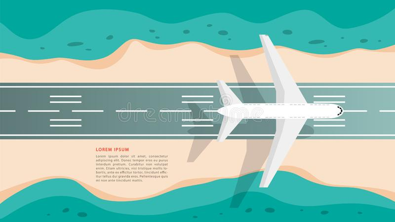 Plane on the airstrip top view. Aviation concept. Idea of tourism. And transportation. Vector illustration in cartoon style vector illustration