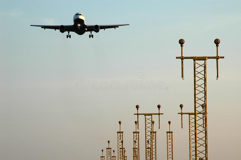 Plane approaching stock photography
