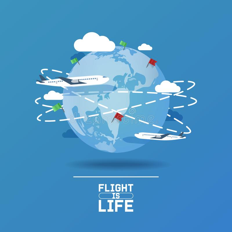 Plane around world vector aircraft airplane jet flight transportation flying to airport illustration aviation backdrop. Of aeroplane airliner traveling banner royalty free illustration