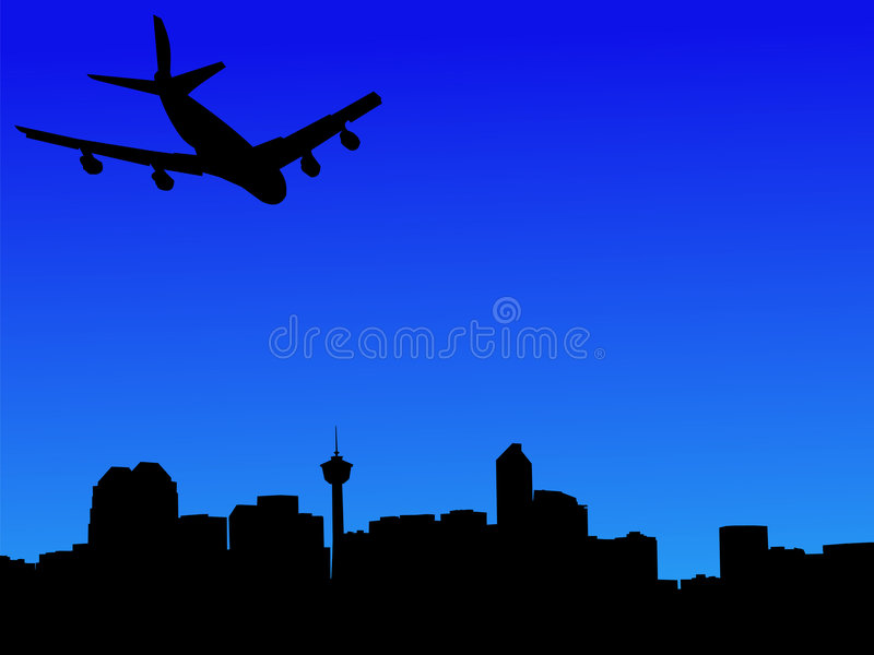 Plane arriving in calgary. Four engine plane arriving in calgary illustration vector illustration