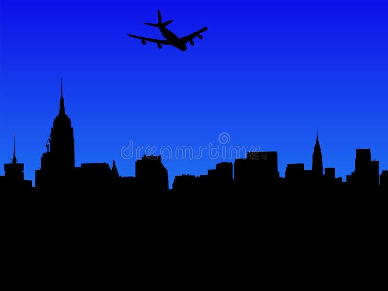 Download Plane Arriving In Manhattan Stock Vector - Image: 3792414