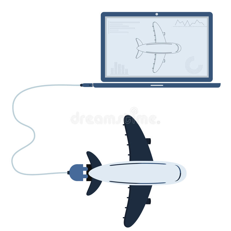 Plane automation using laptop. Plane connected to a laptop through a usb cable. Outline of the airplane and graphs being shown on the computer monitor. Flat stock illustration