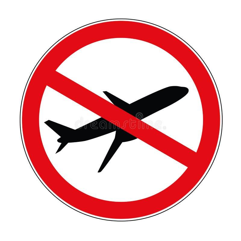 Plane aviation prohibited warning sign icon. Vector illustration EPS10 royalty free illustration