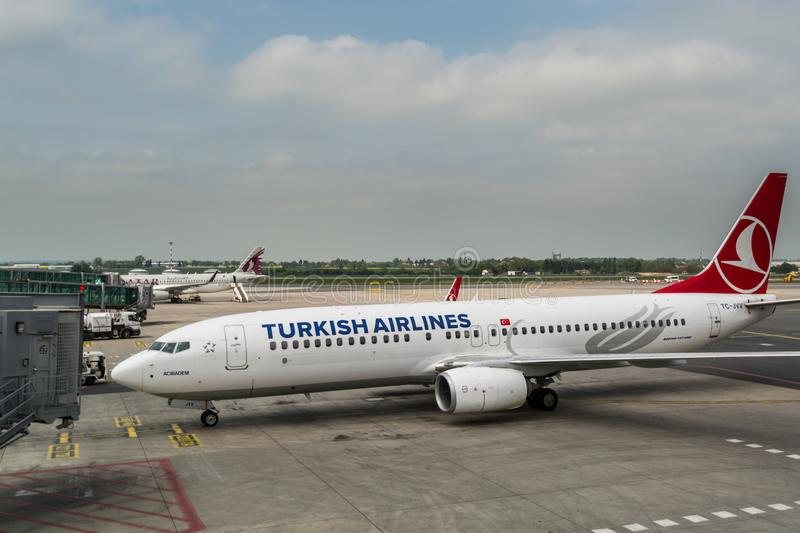 Plane of Boeing 737-800 of Turkish airlines,  taxing at Vaclav Havel Airport Prague, Czech. Prague, Czech, May 3rd, 2018, Plane of Boeing 737-800 of Turkish royalty free stock photography