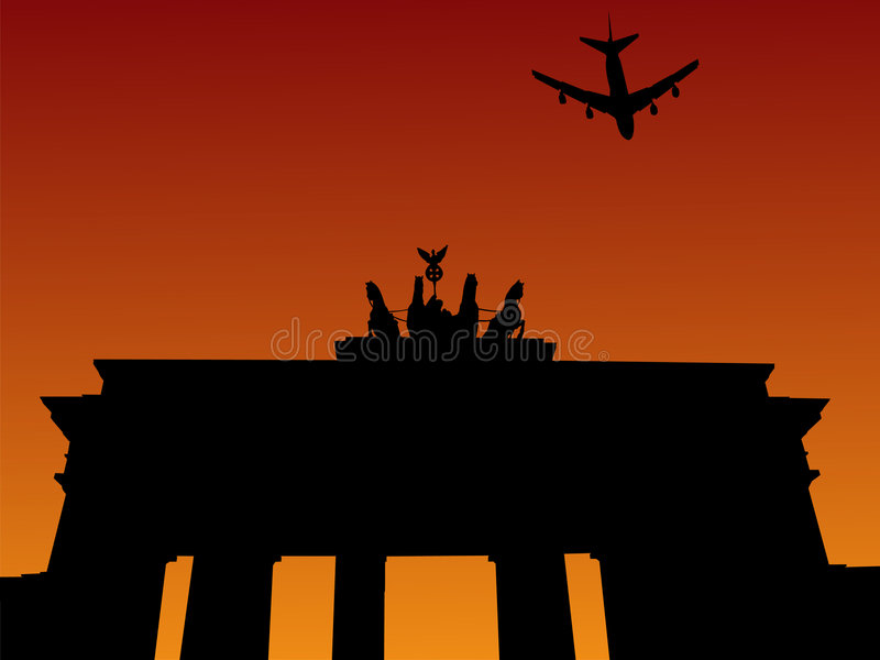 Plane and Brandenburg gate. Plane flying over Brandenburg gate Berlin Germany stock illustration