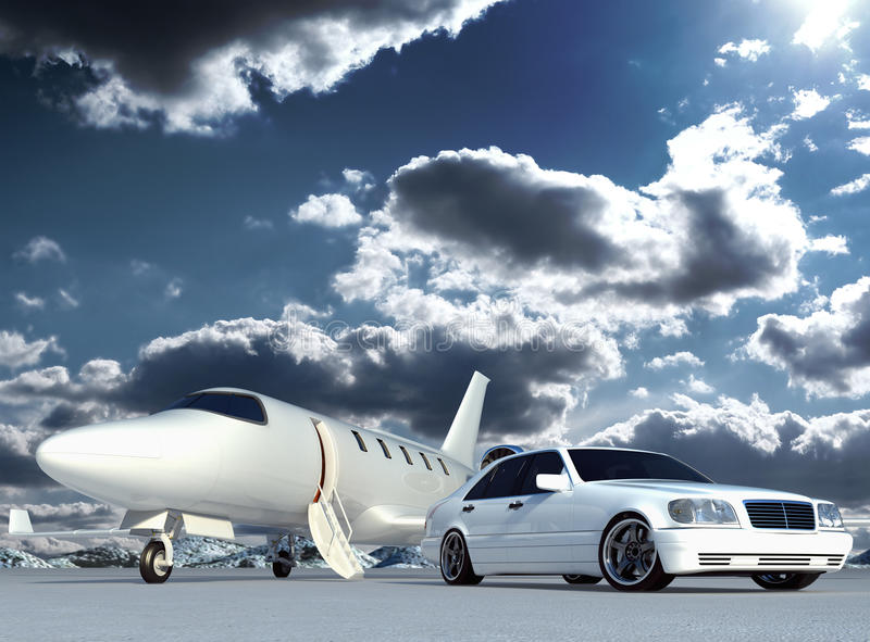 Plane and car. Cg jet plane and car