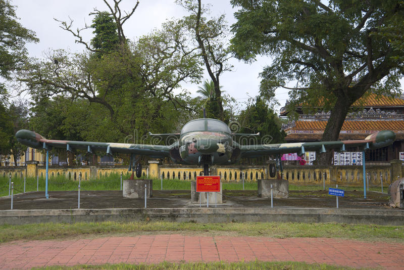 Plane Cessna A-37 Dragonfly front view. City Museum, Hue royalty free stock photography