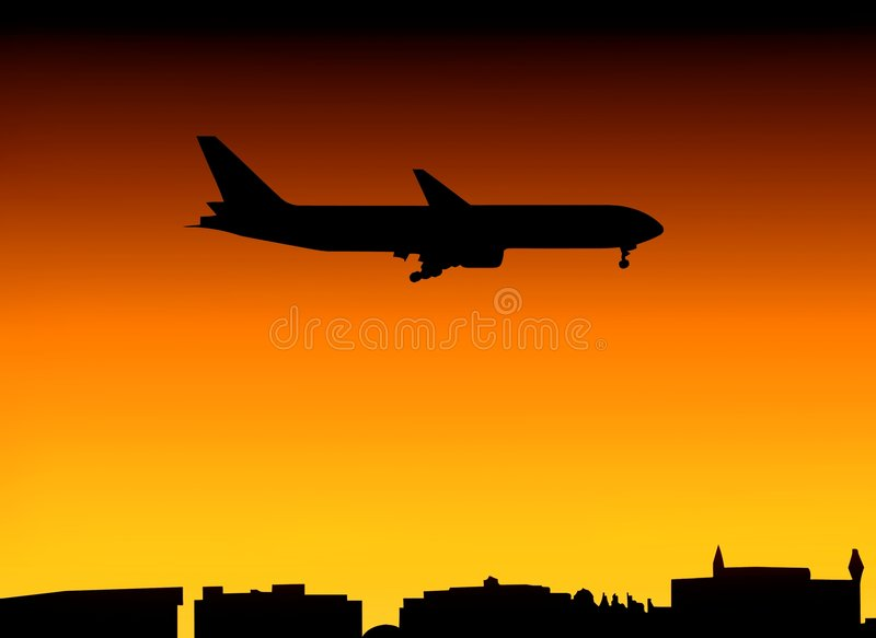 Plane And City Skyline At Sunset Stock Image
