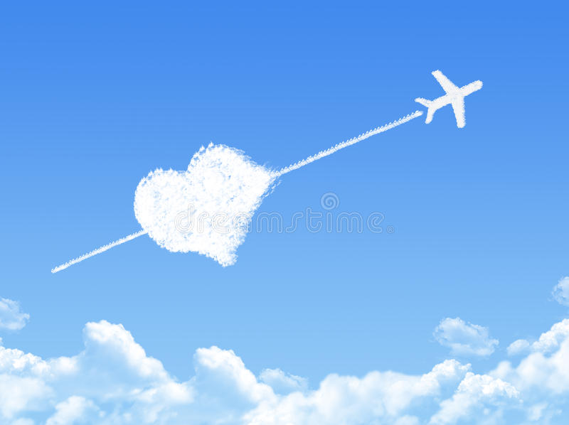 Plane on Cloud shaped ,dream concept. On bluse sky vector illustration