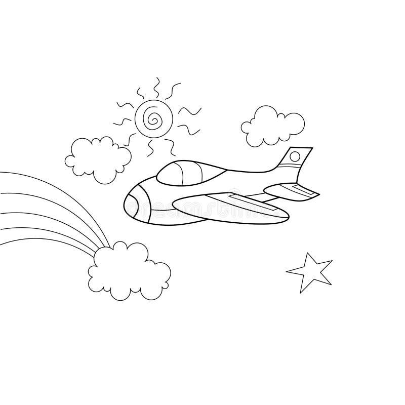 Plane coloring book cartoon royalty free illustration