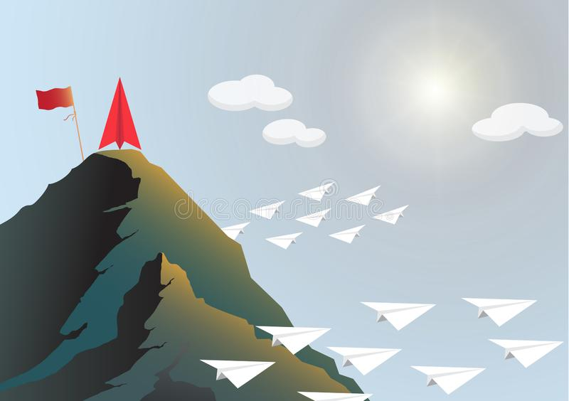 Plane competition with red plane on top of mountain with flag, business leadership ambitious successful goal achievement concept. Plane competition with red vector illustration