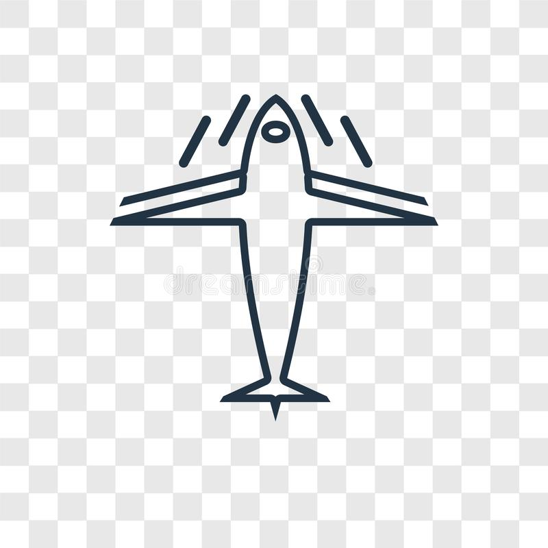Plane concept vector linear icon isolated on transparent background, Plane concept transparency logo in outline style. Plane concept vector linear icon isolated stock illustration
