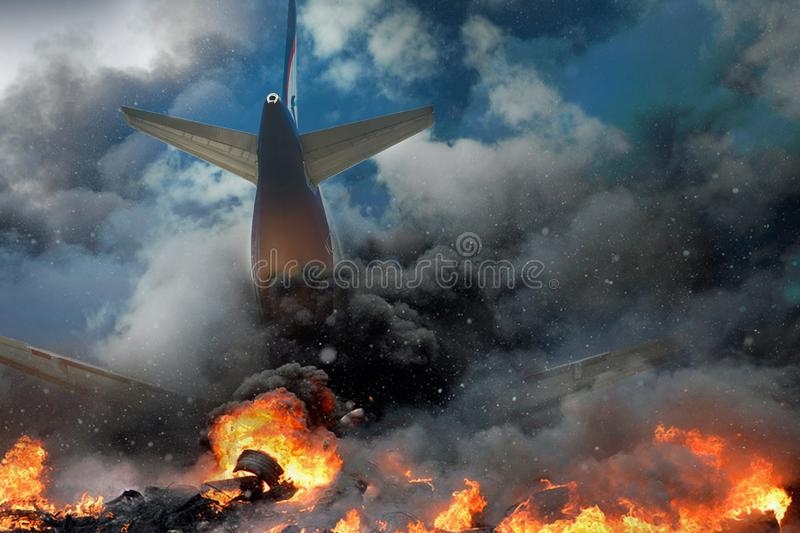 Plane crash, plane on fire and smoke. Fear of Air Travel Concept stock photos