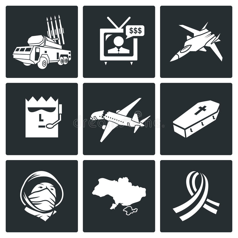 Plane crash Vector Icons Set. Plane crash Icon flat collection isolated on a black background royalty free illustration