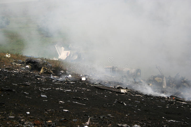 Plane Crash. Wreckage of the aircraft wreckage royalty free stock image