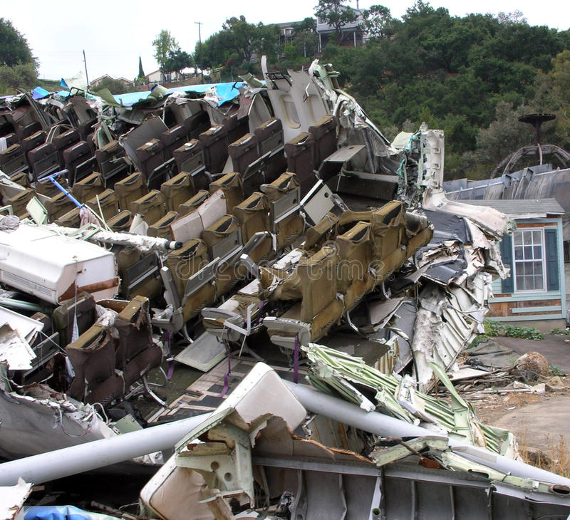 Plane crashed, house with disaster. A scene of destroyed house, plane crush and crashed surrounding. Attraction scene in hollywood studio stock images