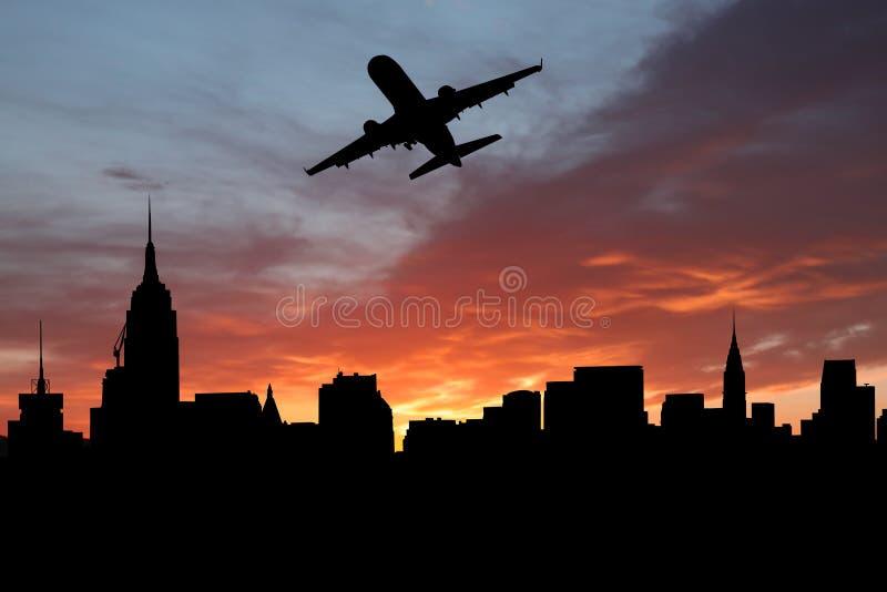 Plane Departing Manhattan Stock Photo