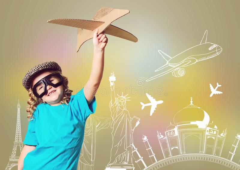 Plane. Dream girl toy child pilot unusual royalty free stock photography