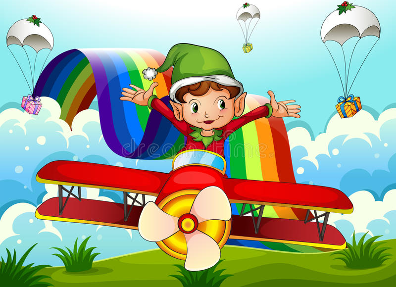 A plane with an elf and a rainbow in the sky with parachutes vector illustration