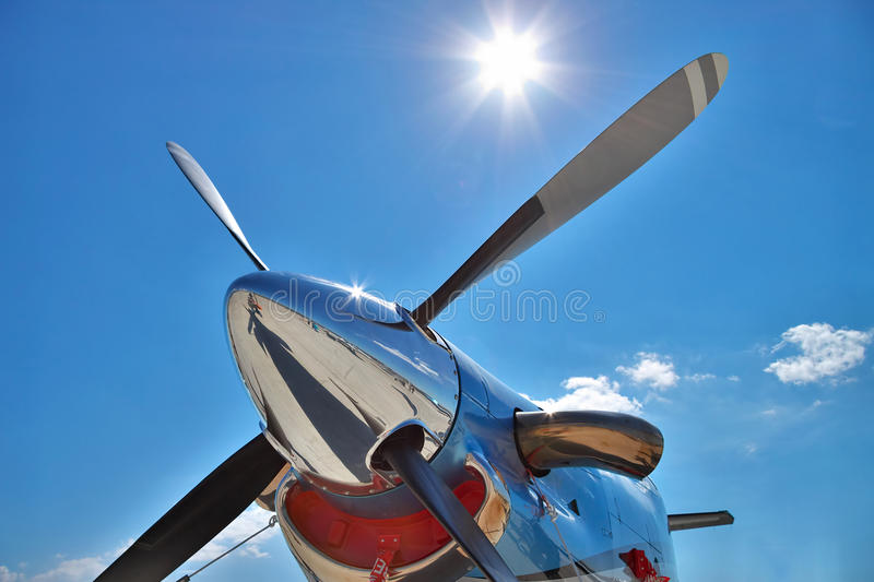 Plane engine and propeller royalty free stock photo
