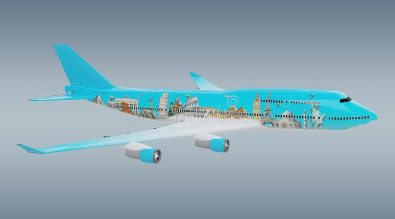 Plane with famous landmarks of the world 3D rendering vector illustration