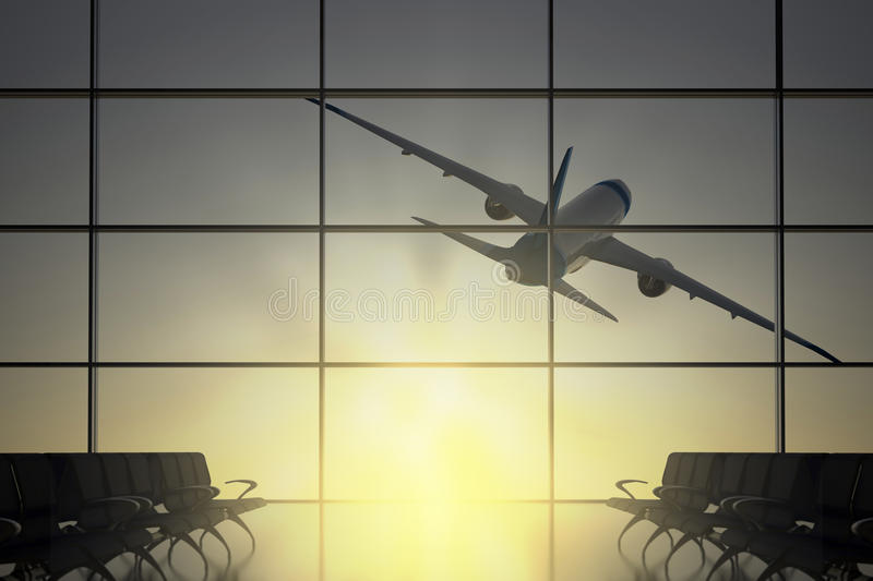 Download Plane Flies Away From Airport Stock Illustration - Illustration: 34921160