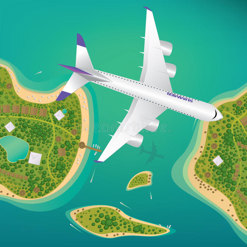 Plane flies over a few tropical islands stock illustration